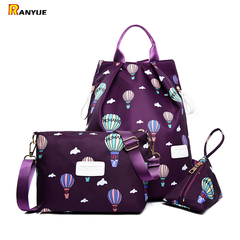 Nylon Women Backpack 3pcs Set Balloon Printing Backpack Women School Bagpack For Teenage Girl Female Backpack Shoulder Bag Purse