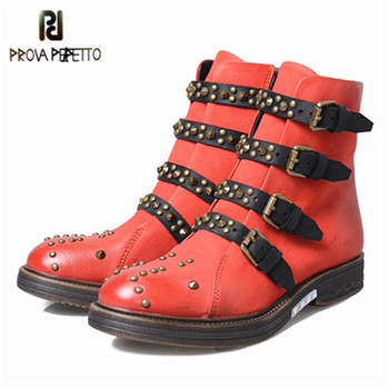 Prova Perfetto 2018 Original British Style Real Leather Buckle Rivet Short Boots Fashion Red Round Toe Low Heel Motorcycle Boot