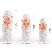 Simple modern white flower vase are hollow European soft decoration ceramic vase table living room decoration