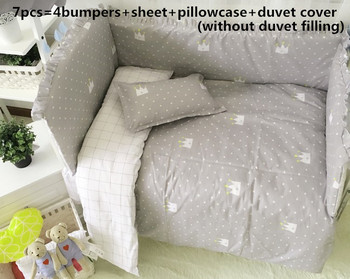 6/7PCS Baby crib set Cot set baby bedding for babies crib set cotton Cushion Safety Protector kit de berço , 120*60/120*70cm фото