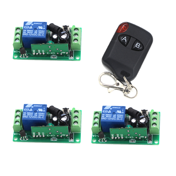 DC 12V 1 CH 1CH RF Wireless Remote Control Switch System,1 X AB Button Transmitter + 3 10A Receiver,315/433MHZ SKU: 5346 wireless pager system 433 92mhz wireless restaurant table buzzer with monitor and watch receiver 3 display 42 call button