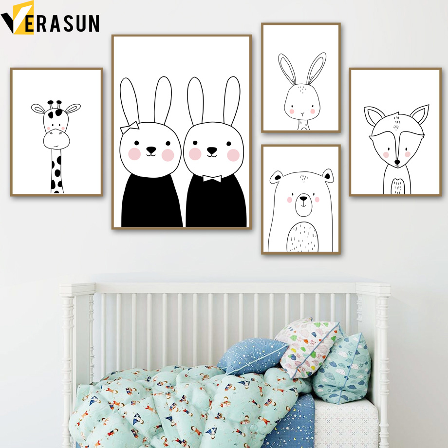 Black White Giraffe Rabbit Bear Fox Nursery Wall Art Canvas Painting Nordic Posters And Prints Wall Pictures For Kids Room Decor-in Painting & Calligraphy from Home & Garden