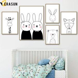 Image 1 - Cuadro sobre lienzo para pared con imagen de jirafa, conejo, zorro, guardería, blanco y negro, carteles nórdicos e impresiones, cuadros de pared para decoración de habitación de niños