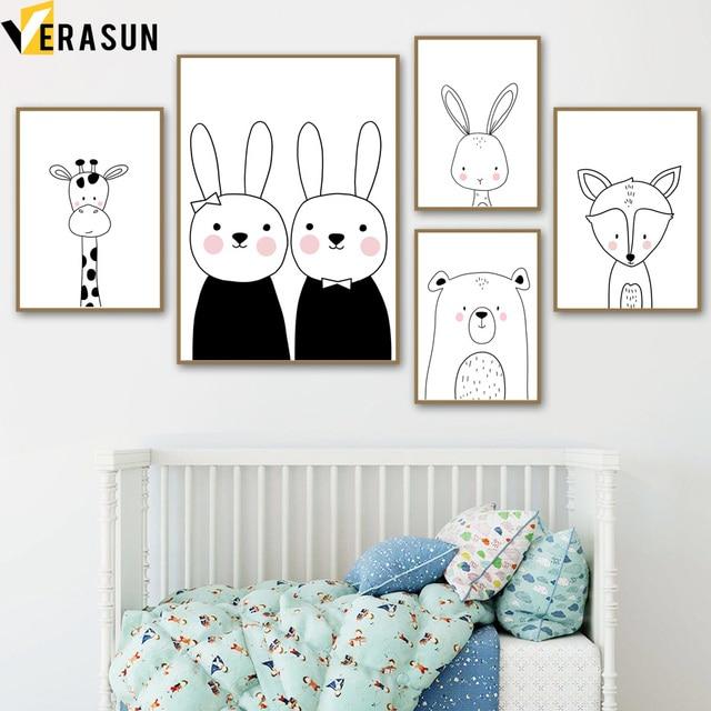 Cuadro sobre lienzo para pared con imagen de jirafa, conejo, zorro, guardería, blanco y negro, carteles nórdicos e impresiones, cuadros de pared para decoración de habitación de niños