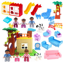 Diy Accessories Happy Family Doll House Building Blocks Compatible with Legoingly Duploed Baby Educational Toys for Children(China)