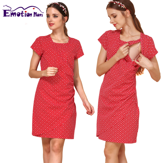 Emotion Moms Short Sleeve Maternity clothes Summer Nursing Dress BreastFeeding Dresses for Pregnant Women Maternity Dresses