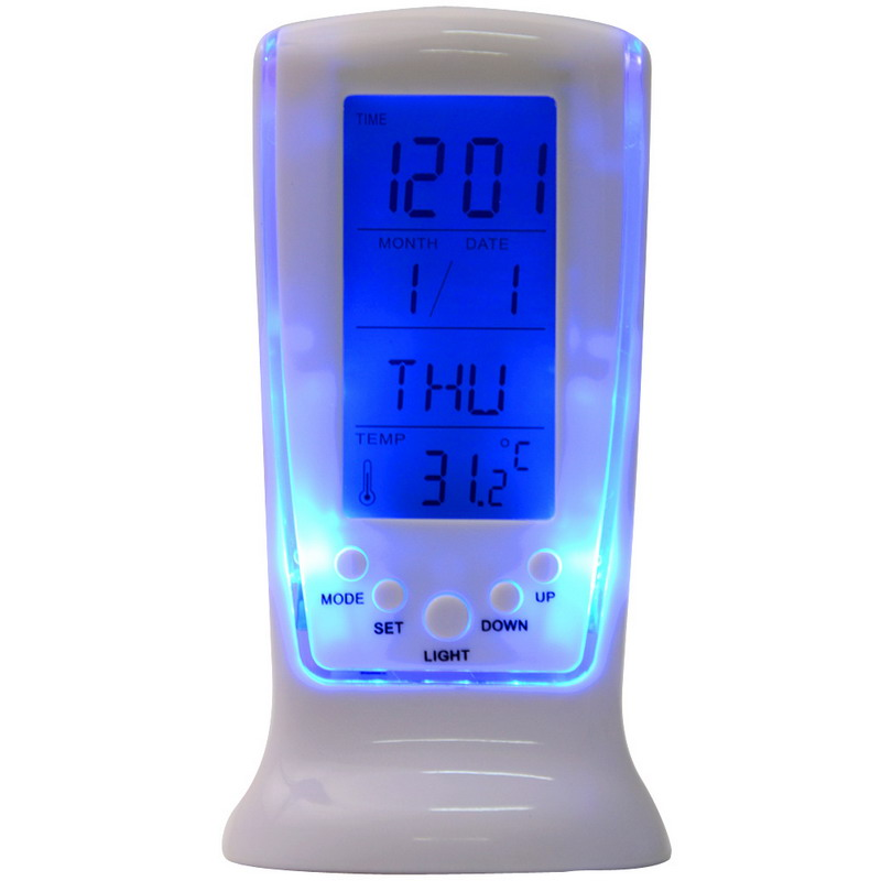 Digital Calendar Temperature LUMINOVA Backlight LED Screen Desktop Alarm Clock White Color Plastic Modern Design T0697 P20