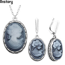 hot deal buy lady queen cameo jewelry sets vintage necklace earrings jewelry sets for women flower pendant fashion party sets