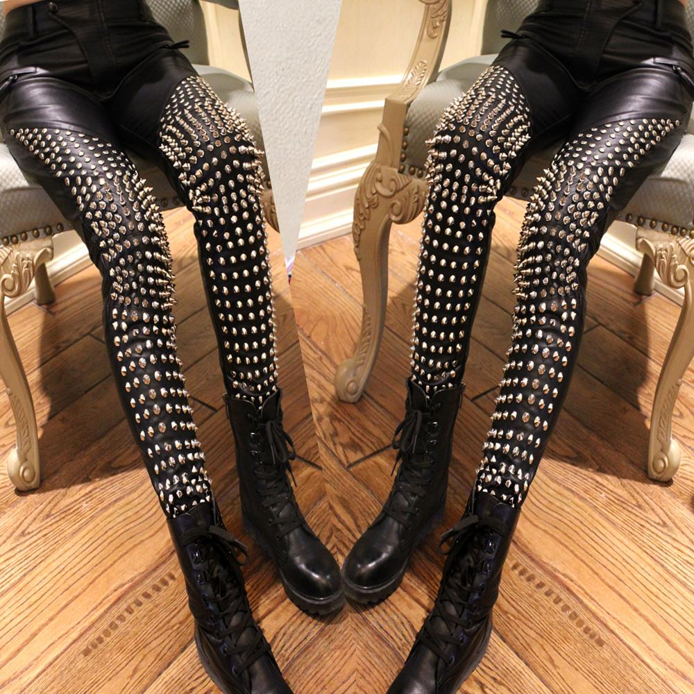 2017 New Celebrity Style Runway Studded Punk Rock Pants Heavy Metal Pants Clothings Spike Studded Faux Leather Pants