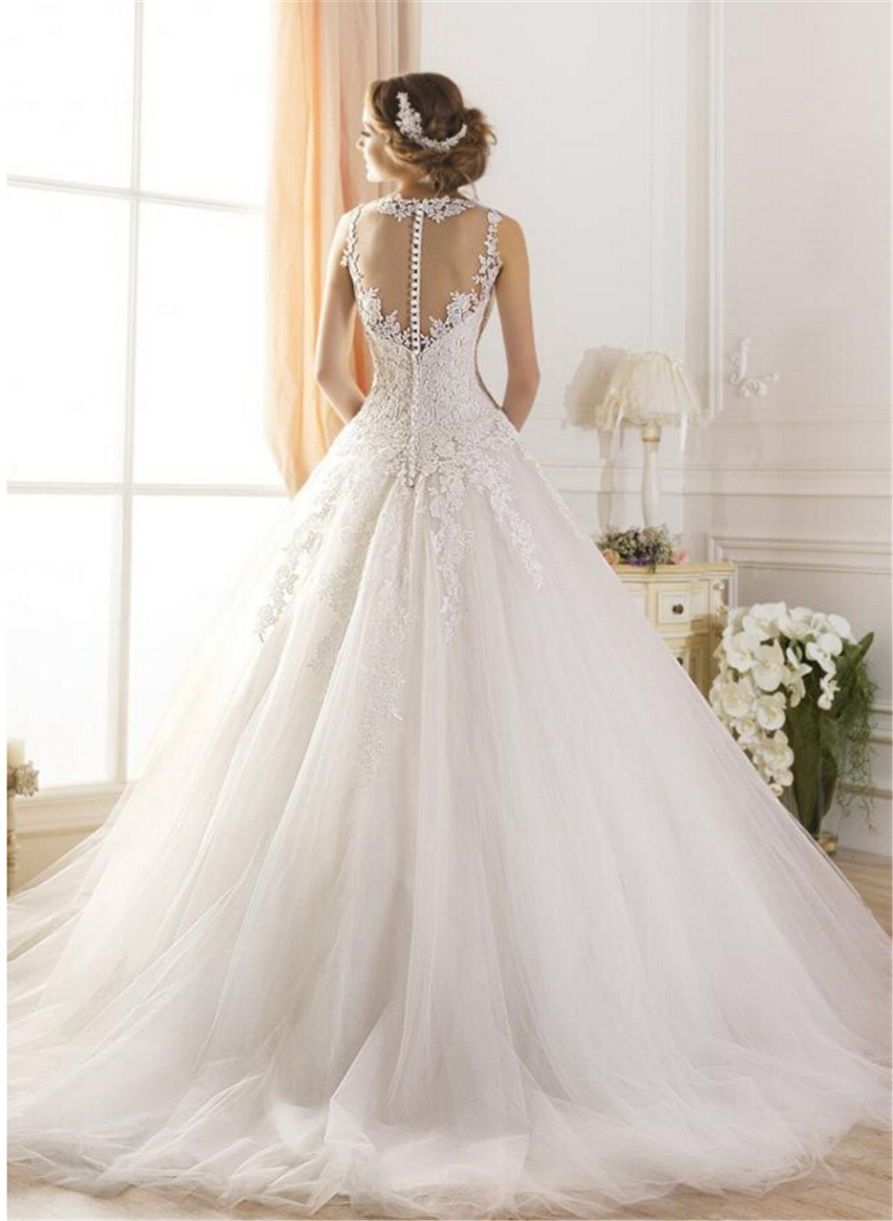 wuzhiyi Wedding Dress 2017 Princess Lace A line Appliques Scoop Bridal Gown Luxury Vintage Sleeveless vestido de novia Plus Size