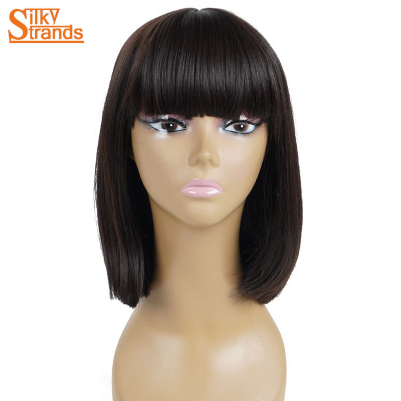 Short Black Bob Wigs For Women With Flat Bangs Silky Strands African ... 20993f229