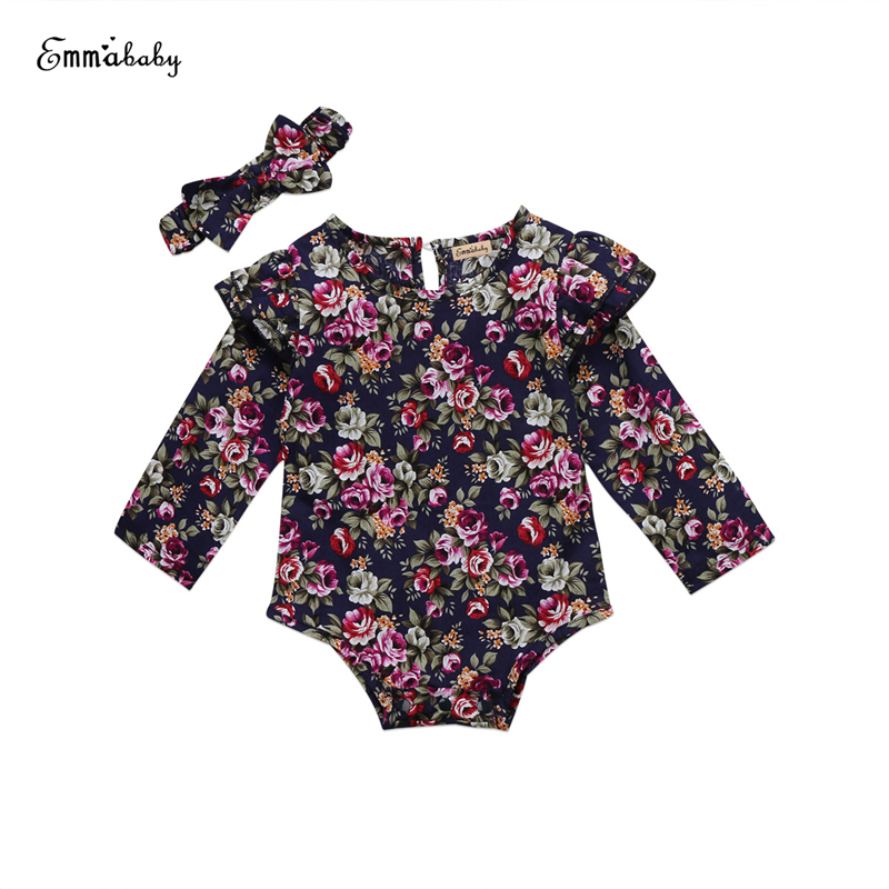 Baby Floral Romper Headband 2pcs 2017 New Hot Newborn Baby Girl Long Sleeve Ruffle Romper Fall Warm Bebes Jumpsuit Kid Body Suit 2017 floral baby romper newborn baby girl clothes ruffles sleeve bodysuit headband 2pcs outfit bebek giyim sunsuit 0 24m