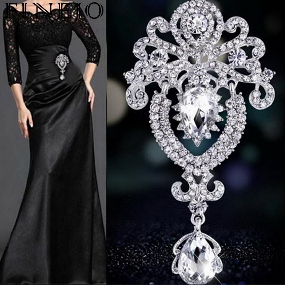 92e7cfc497 🛒 FINEJO Women Brooches Rhinestone Crystal Crown Large Flower ...
