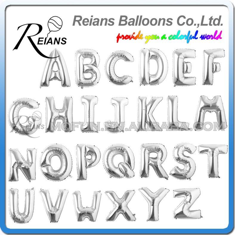 Alphabet Foil Silvers: REIANS 1 Pc 40 Inch Big Silver/Gold Alphabet Helium Foil