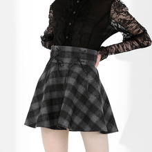 Gothic Women Gray Plaid Casual Billowing Skirt High Waist Lace-up Mini A-line Skirt Preppy Style Mini Skirts