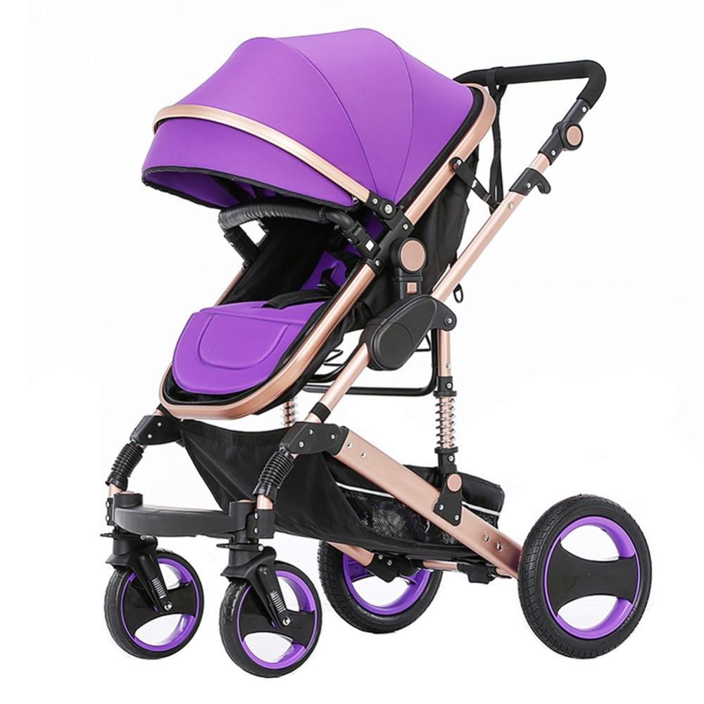 Детская коляска, ультра легкая, складывающаяся, резиновая, четыре колеса, может сидеть, лежа, ударная тележка - 6