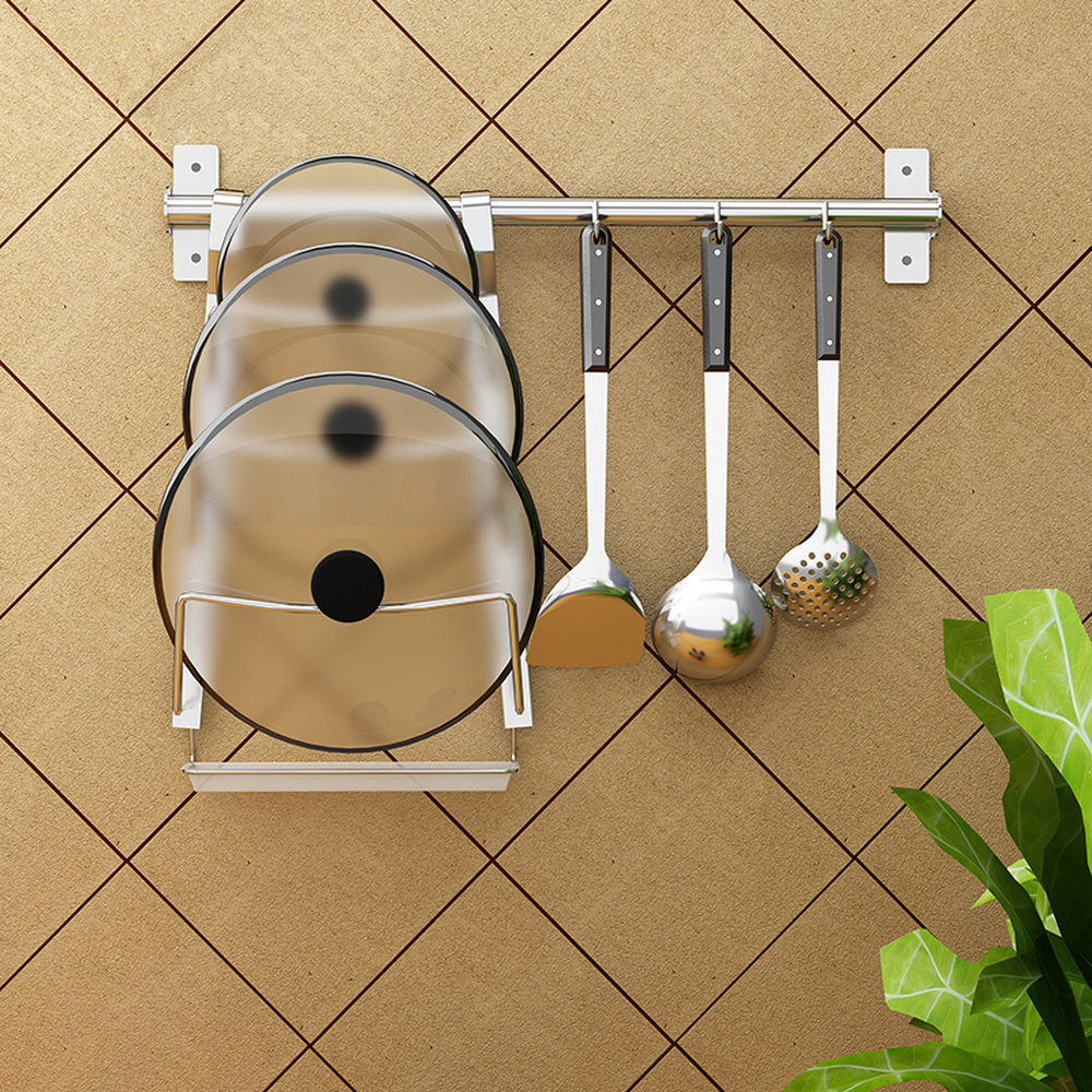 Pot cover holder kitchen wall mounted stainless steel rod with 3 hooks for storage rack multifunctional punching shelf wx7200942Pot cover holder kitchen wall mounted stainless steel rod with 3 hooks for storage rack multifunctional punching shelf wx7200942