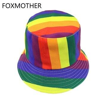FOXMOTHER-gorros de Pescador a rayas, color arcoíris, para hombre y mujer
