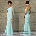 Plus Size Mint Green Bridesmaid Dresses one Shoulder Pleat Chiffon 2015 Long Wedding Guest Wear Vestido Para Madrinha