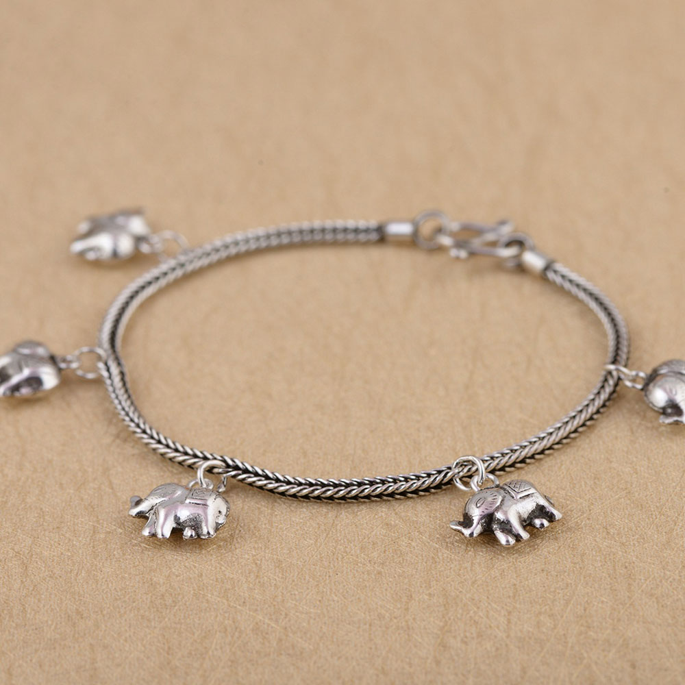 charm bangle elephant sterling and beaded product silver original lucky bracelet turquoise
