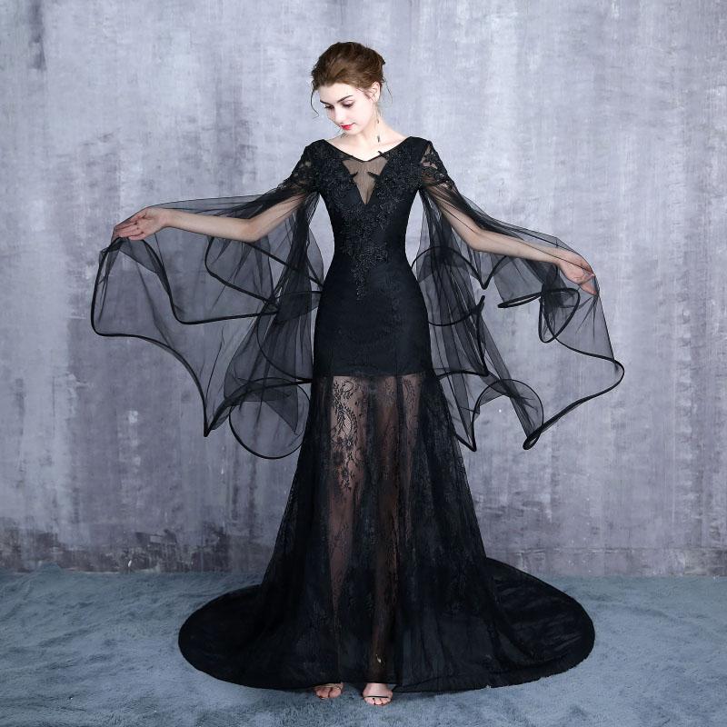 Gratis schip zwart/lichtblauw sea queen/dark queen lange vintage jurk/zee thema/studio stage lange jurk/halloween - 5