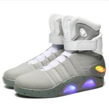 Adultos de carregamento usb led sapatos luminosos para a moda masculina acender casual homem b voltar para o futuro homem brilhante tênis navio livre
