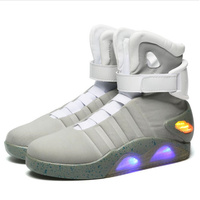 Adults USB Charging Led Luminous Shoes For Men's Fashion Light Up Casual Men B back to the Future Glowing Man Sneakers Free ship