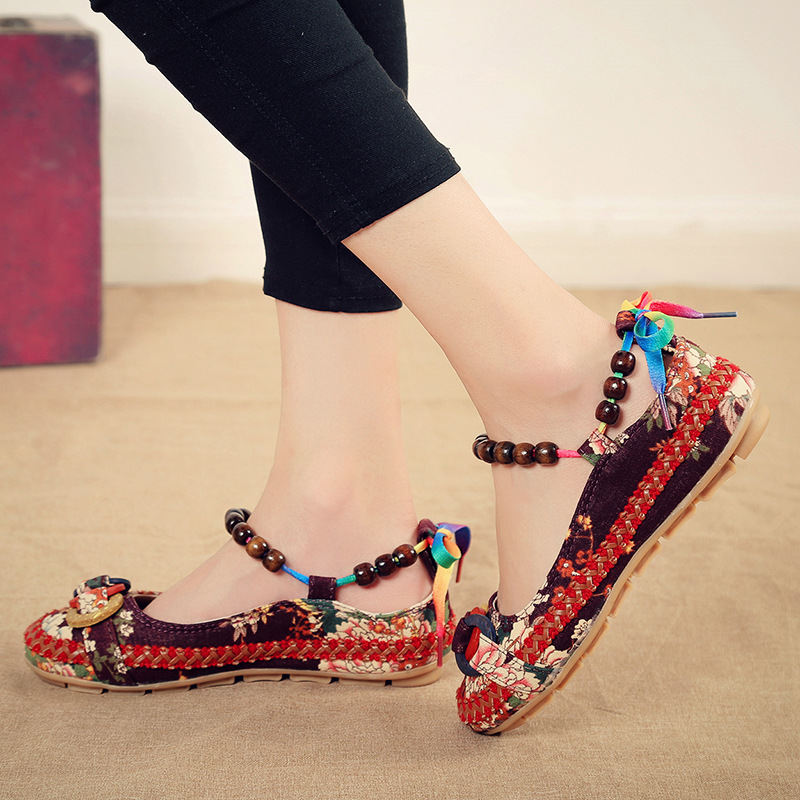 Casual Flat Shoes Women Flats Handmade Beaded Ankle Straps Loafers Zapatos Mujer Retro Ethnic Embroidered Shoes For Woman Size42 in Women 39 s Flats from Shoes
