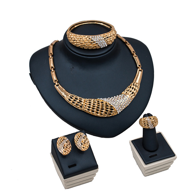 Dealky New Arrival Women Necklace Jewelry Set Fashion Beautiful Rhinestone  Gold Jewellery Set Free Shipping cc3622872c2b