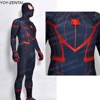 High Quality Black Civil War Spiderman Costume Red Black Tom Holland Spider Man Suit Adult New