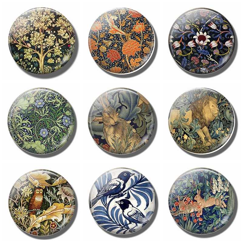Refrigerator Magnets William Morris Tree of Life 30 MM Magnet Fridge Glass Dome Art Magnetic Stickers for Fridge Cute Home Decor