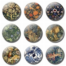 Refrigerator Magnets William Morris Tree of Life 30 MM Magnet Fridge Glass Dome Art Magnetic Stickers for Cute Home Decor