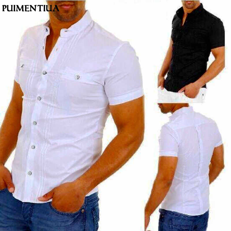 Puimentiua Mannen Casual Shirts Effen Korte Mouwen Katoen Button Down Jurk Shirts Turn Down Kraag Mannelijke Slim Fit Office Party tops