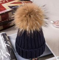 winter baby natural fur hat children's winter knit hat for girls for boys knit cap for children double t