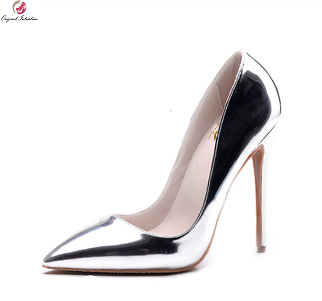 a4554aa64426 Original Intention Popular Women Pumps Pointed Toe Thin Heels Pumps  High-quality Gold Silver Shoes Woman Plus US Size 3.5-10.5