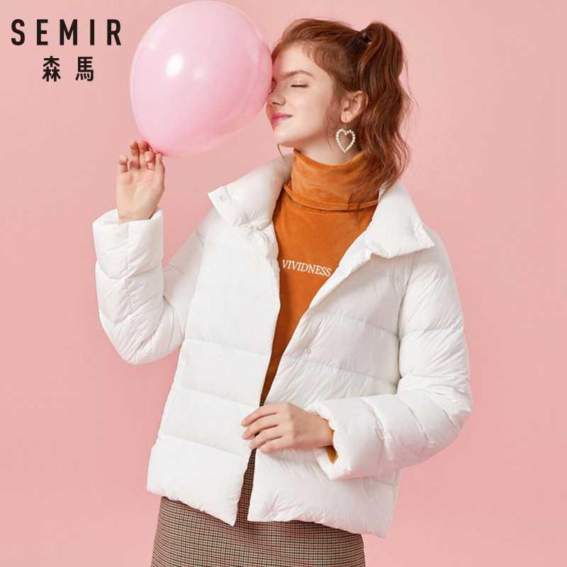 セミールプラスサイズ 2XL 3XL 厚み冬のジャケットの女性 2019 のための超軽量ダウンコートパッド入りジャケット黒のカジュアルな服装女性