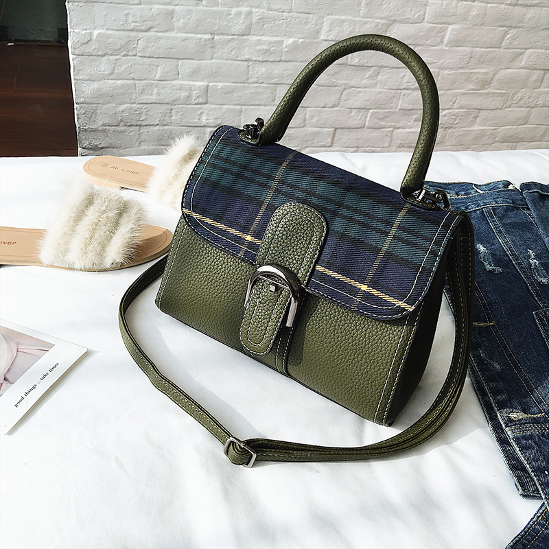 Women Leather Fashion Handbag High Quality Vintage Totes Bag Female  Shoulder Bag Lady Famous Brand Houndstooth Bag Drop Shipping-in Top-Handle  Bags from ... 1b13e8770d03c
