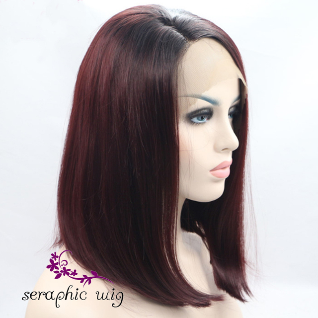 Bob Wig Short Burgundy Wigs Lace Front Synthtetic Wigs Heat Resistant Glulelss Ombre Burgundy Wigs Straight for Black Women