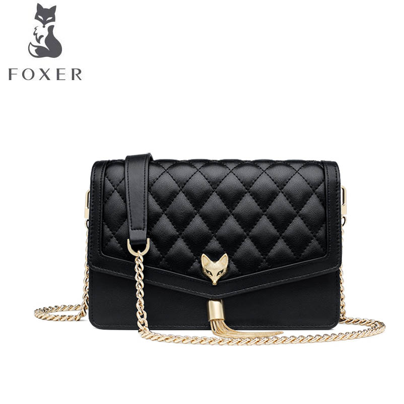 FOXER New rhombic chain package 2018 new tassel bag female fashion temperament shoulder Messenger bag female bag in the summer of 2017 the new oblique cross chain tassel small bread joker single shoulder bag organ package
