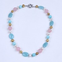 Multi Color Agate With Real Pearl Crystal And Soapstone Necklace Jewelry Women Choker Necklace Jewelry For