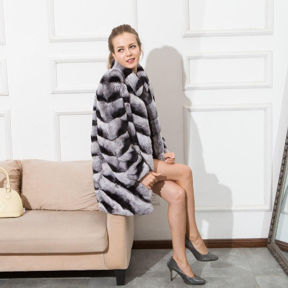 Cnegovik 2016 Шиншилла Меховые пальто для женщин
