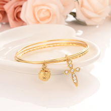 Gold apple cross Bangle for Women Dubai india Bride Wedding kid girl Africa Bangle Arab Jewelry Charm Bracelet Christmas gifts jhplated one piece womens wedding bridal bangle bracelet dubai bangle jewelry africa arab gold color