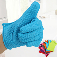 HOT Silicone Kitchen Heat Resistant Glove Pot Holder Baking BBQ Cooking Oven Mitts 91X9