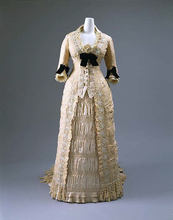 1875 French Golen High Style Dress Historical Dinner Gown