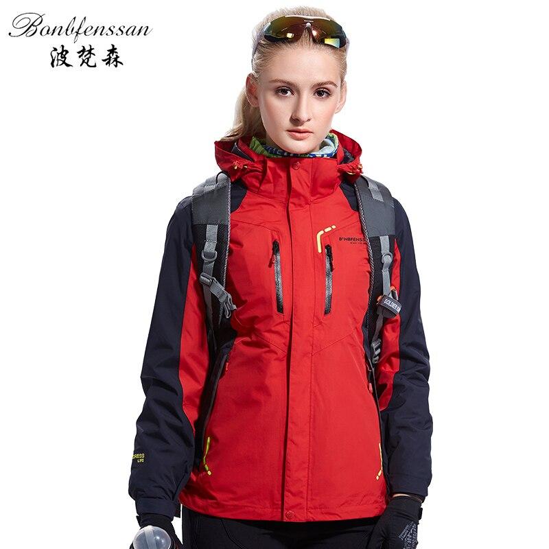 Women 3 in 1 Inner Fleece winter Outdoor Jackets Waterproof Windproof Warm Outdoor sport Trekking Hiking