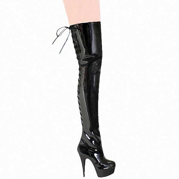 cf668e1df4e Sexy American leather pole dancing Over-the-Knee boots. 15 cm high heels  Female boots. Lace-up High boots