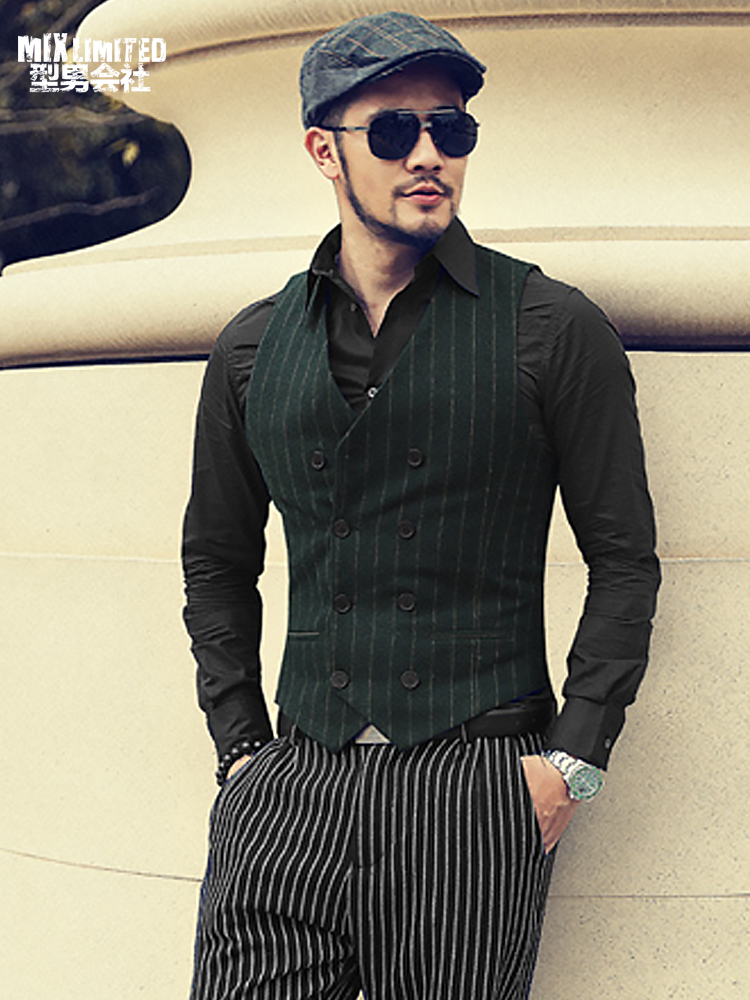New Winter Men's Striped Casual Cotton European Style Slim Fit Waistcoat Men Sleeveless Suit Vest Jacket Foraml Gilet M106-2