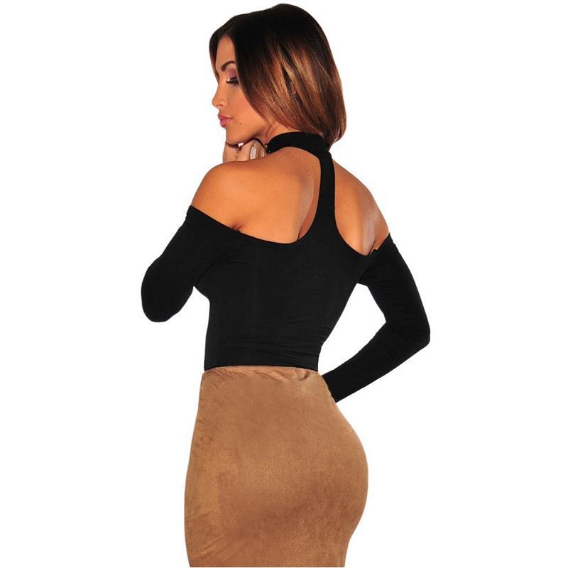97643bbb29 Choker Off Shoulder Bodysuit Long Sleeve Bandage Bodysuits 2016 Women Bodysuits  Black Skinny Sexy Club Party Enteritos Mujer-in Bodysuits from Women s ...