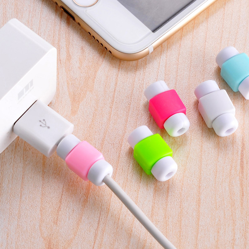 10 Piece Mini Cute Silicone USB font b Cable b font Earphone Protector Plastic Cord Protection