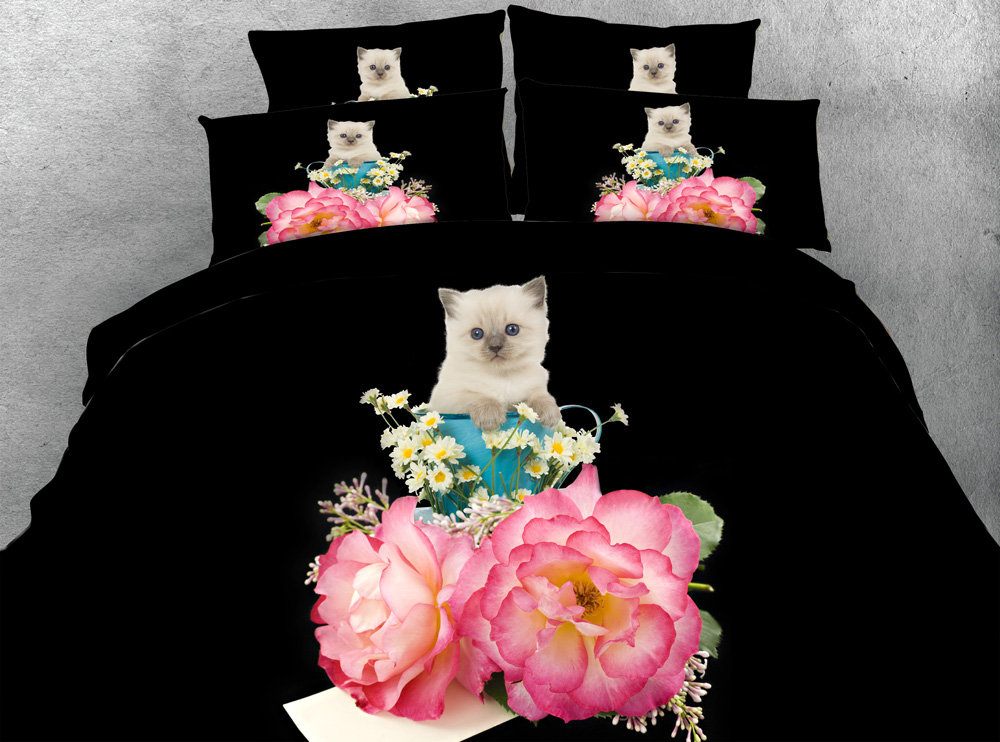 Jf-329 Black Fabric Bedclothes 4pcs White Cat Flowers And Daisy Duvet Cover Bedding Sets 3d Single Queen King Size Bed Linens Up-To-Date Styling Home Textile